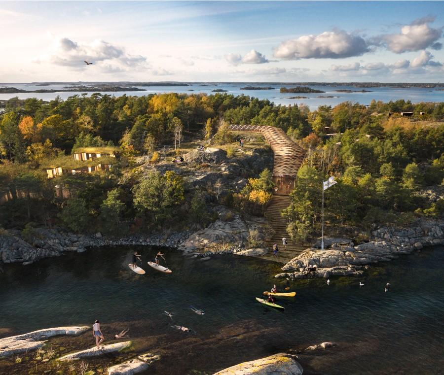 Fotomontage över nytt besökscenter i trä som slingrar sig ned mot vattnet. Foto: Mattias Brauns, Montage: Helen & Hard