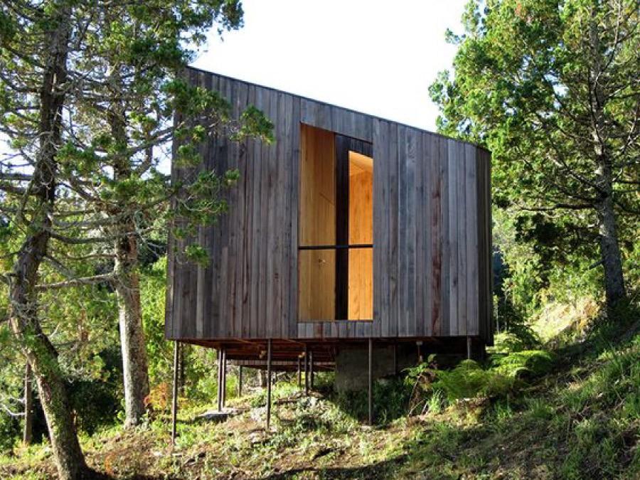 Grundläggningen kan göras minimal med lätta byggnader. Foto: Nicolás Valdés Rojic. Projekt: Sauna with a view, PANORAMA